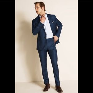 MOSS London Slim Fit Blue Sharkskin 2 Piece Suit